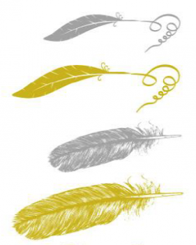 Feather 1 - Gold & Silver - Small